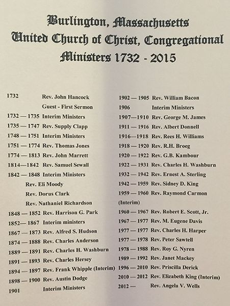 Burlington, Massachusetts United Church of Christ, Congregational Ministers 1732 - 2015